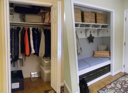 Great idea for smaller entryways that can't fit a full-size mudroom. Take the door off the entryway closet and convert it into a mini mudroom with bench and storage space