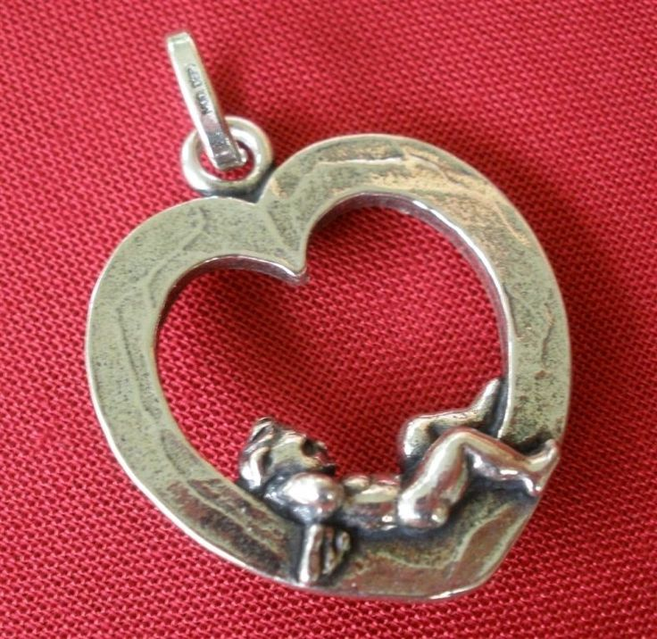 Giovanni Raspini Italy 925 Silver Heart with Angel Charm Pendant #GiovanniRaspini #Pendant