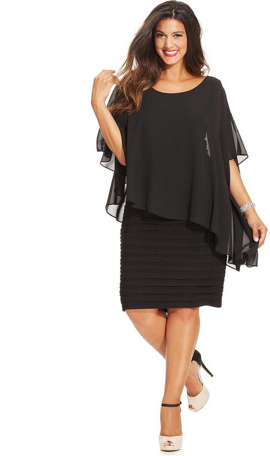 Macy's - Demure and charming, Betsy & Adam's plus size sheath flaunts a figure-flattering pleated body and a pretty chiffon overlay, a perfect complement to your next cocktail party.  wedding guest dress. Black dress. Plus size 14 & Up
