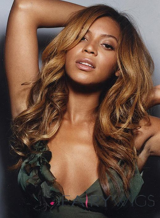 Beyonce Knowles' Lace Front Medium Wavy Golden Brown Virgin Brazilian Hair Wig