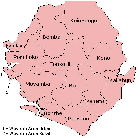The 12 districts and 2 areas of Sierra Leone.