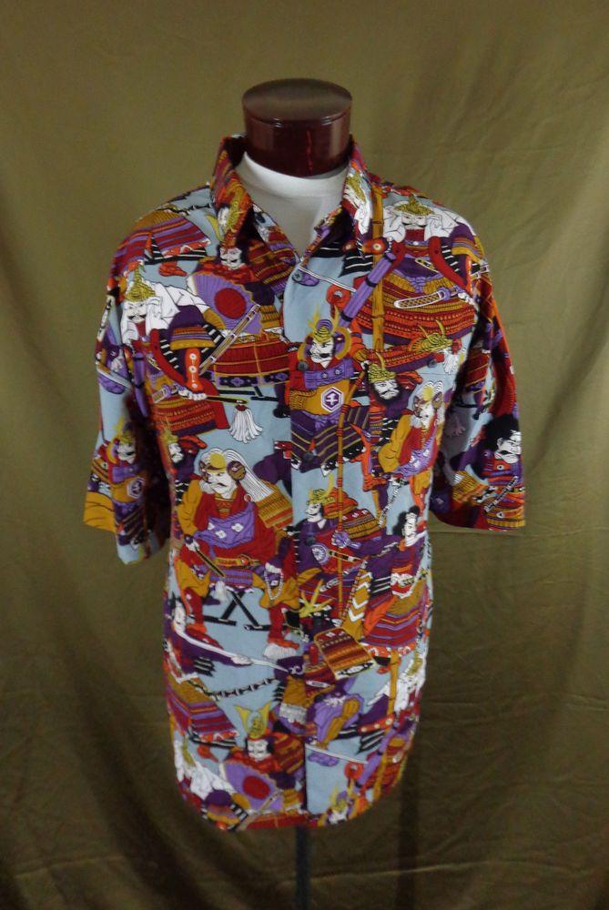 Billion Bay Japanese Samurai Warriors Print Hawaiian Style Shirt – 2XL - VLV #BillionBay #Hawaiian