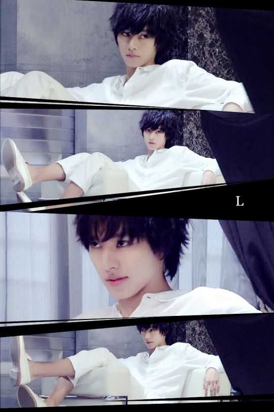 """L from Ep.7, Aug/16/'15 [Preview, Ep.8] http://www.youtube.com/watch?v=w1dbgZR2MSs Kento Yamazaki, Masataka Kubota, Hinako Sano, Yutaka Matsushige. J drama series """"Death Note"""", [Ep. w/Eng. sub] http://www.dramatv.tv/search.html?keyword=Death+Note+%28Japanese+Drama%29<<<< watching this right now...my only problem is that L is wearing shoes. Lol"""
