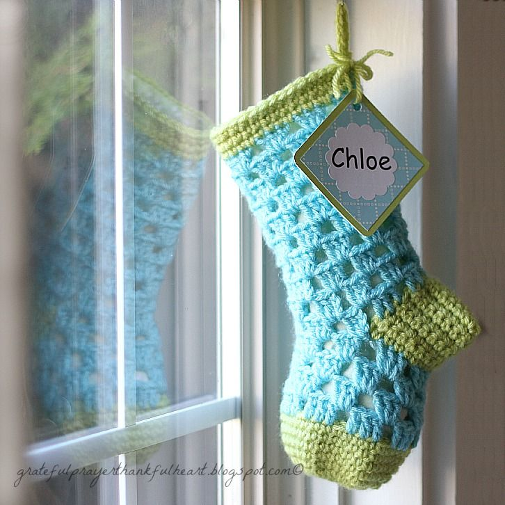 Tutorial: Crochet sock, shown here as Christmas stocking in lime green and turquoise.