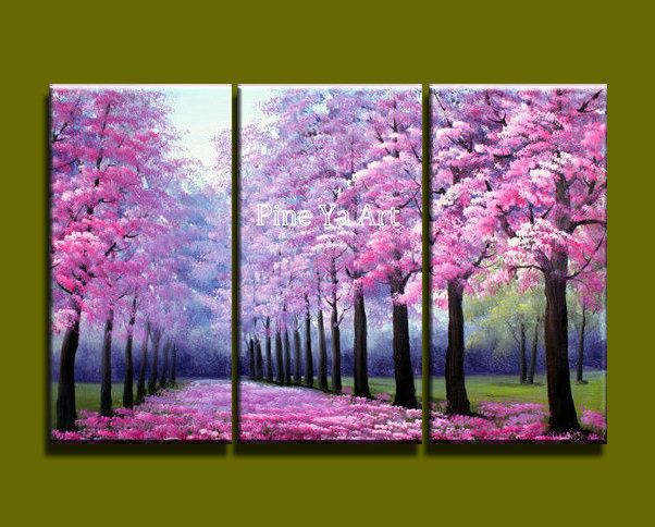3 piece modern canvas wall art triptych Acrylic Pink Blossom tree oil painting canvas for living home bedroom decoration