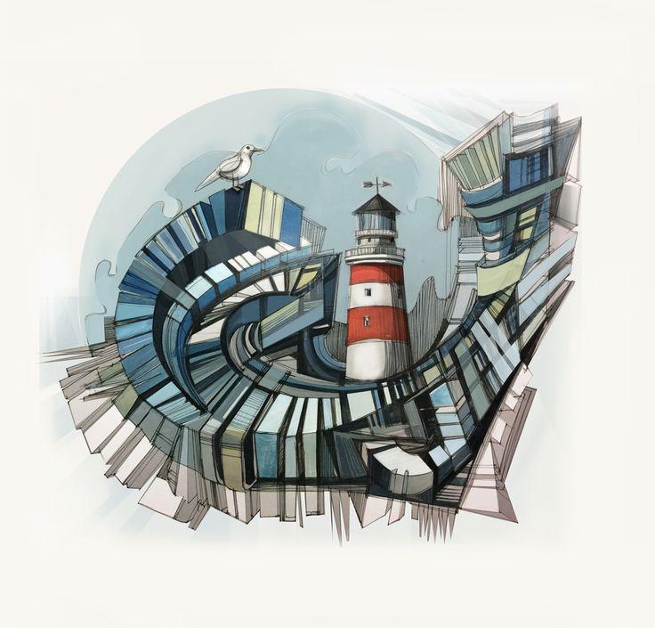 #маяк #море #графика #рисунок #sea #seagull  #lighthouse  #drawing  #illustration #art  #sketch