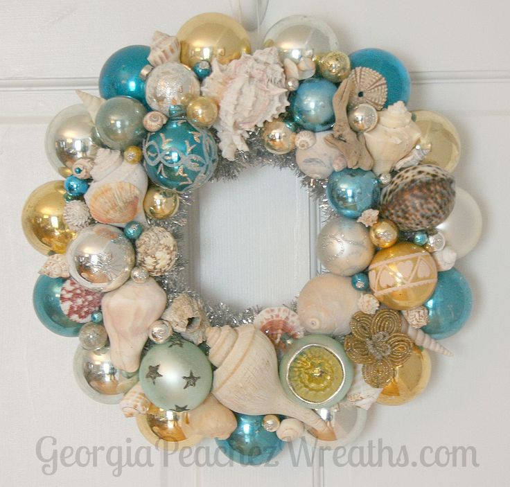 Seashells & Shiny Brites Christmas Wreath beachy,beach,coastal,sea shell,aqua,ornament sea shell wreath Sand 'N Sea Properties LLC, Galveston, TX #sandnseavacation #vacationrental #sandnsea