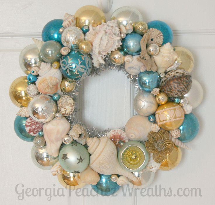 Seashells & Shiny Brites Christmas Wreath beachy,beach,coastal,sea shell,aqua,ornament sea shell wreath
