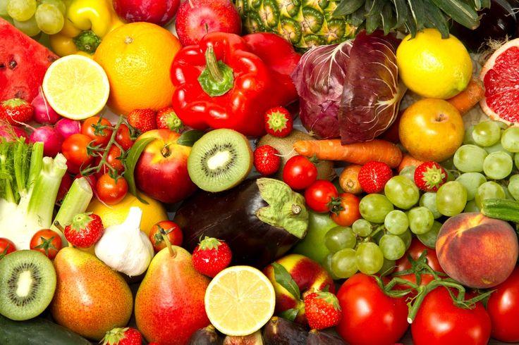 Фрукты Овощи Перец Помидоры Виноград Персики Цитрусовые Ягоды  Еда