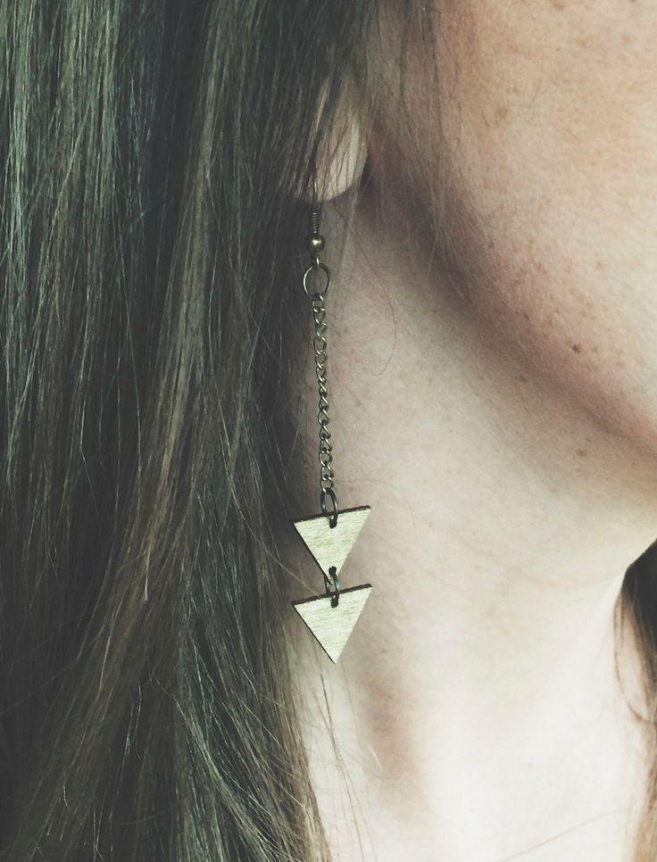 Laser Cut Wood Dangle Triangle Earrings  Gold by PigmentAndPine