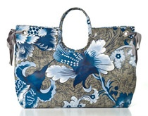 Cabbage Rose Blue - Large Beach Bag