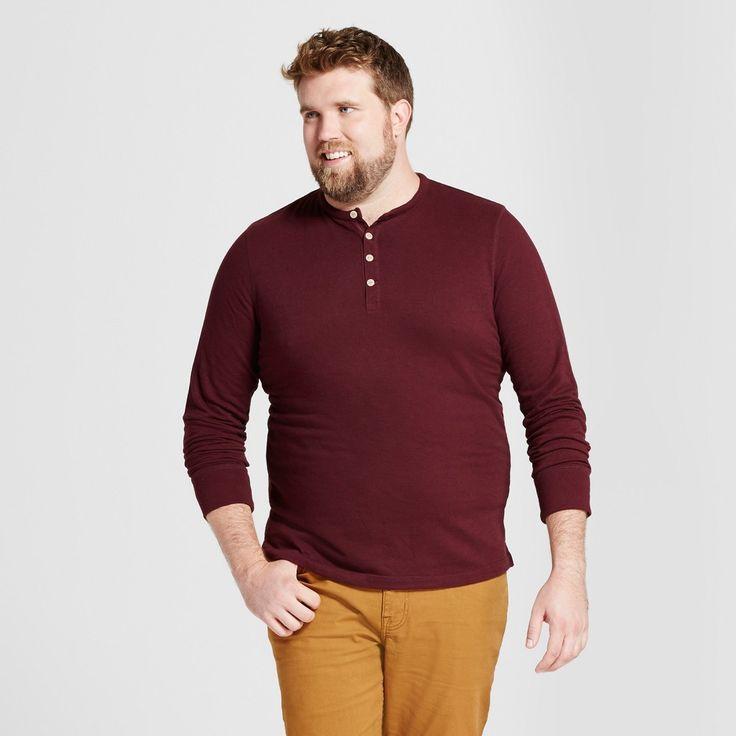 Men's Big & Tall Standard Fit Long Sleeve Micro-Waffle Henley Shirt - Goodfellow & Co Red 3XBT