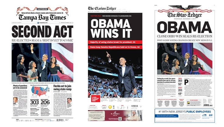 The November 7, 2012 front pages of the Tampa Bay Times (Fla.), The Clarion-Ledger (Missi.), and The Star-Ledger (New Jersey). #NBCPolitics