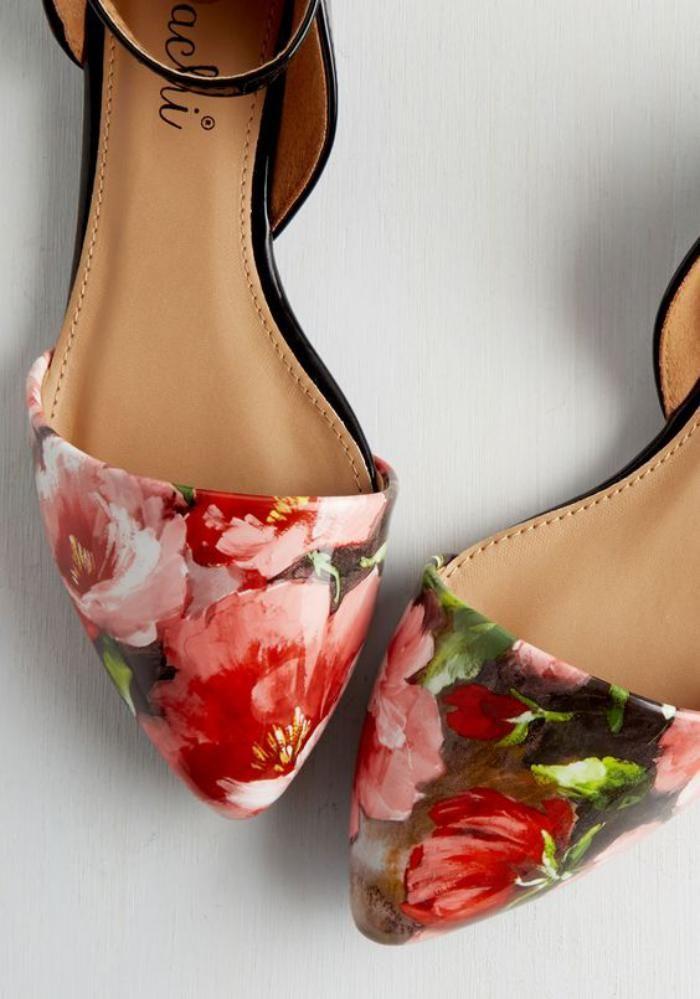 la ballerine, chaussures plates à imprimé floral
