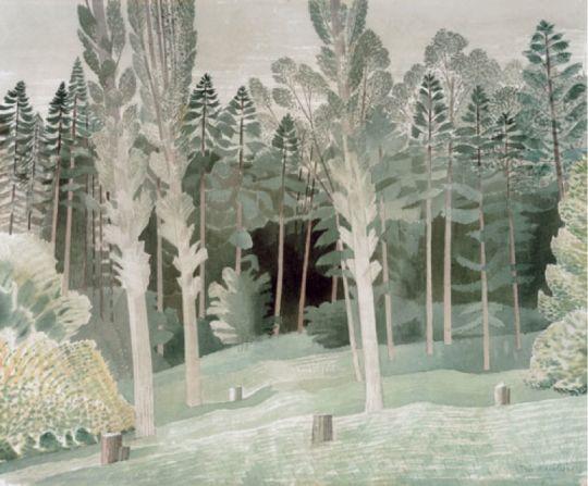 Eric Ravilious (English, 1903-1942), Lombardy Poplars, May 1935. Watercolour.
