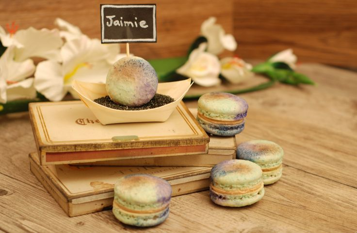 Macaron, coloured sugar and bamboo place-setting with chalkboard name card on vintage cigarette cases. So cute for weddings, bridal showers, baby showers, catered events, etc.