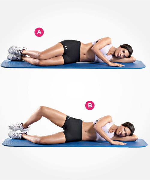 Clamshell Lie on your left side on the floor, with your hips and knees bent 45 degrees. Your right leg should be on top of your left leg, your heels together. (A) Keeping your feet in contact with each other, raise your right knee as high as you can without moving your pelvis. (B) Pause, then return to the starting position. Don't allow your left leg to move off the floor.