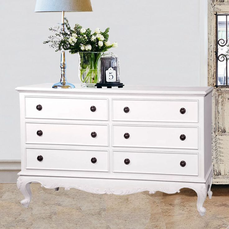 Baroque French Provincial 6 Drawer Chest - White