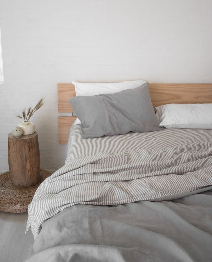 We Styled Our Soft Grey Striped Double Sided Duvet Cover With White For A Relaxed Moody Interior Minimalist Bed Minimalist Bedroom Design Bedroom Design