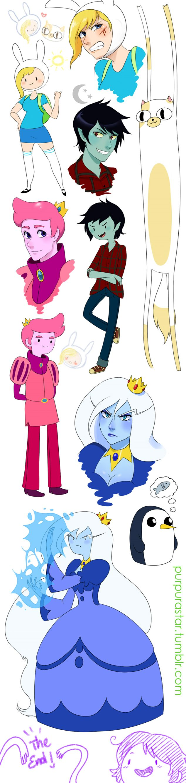 Fionna, Marshall Lee, Prince Gumball, Ice Queen, Cake from Adventure Time