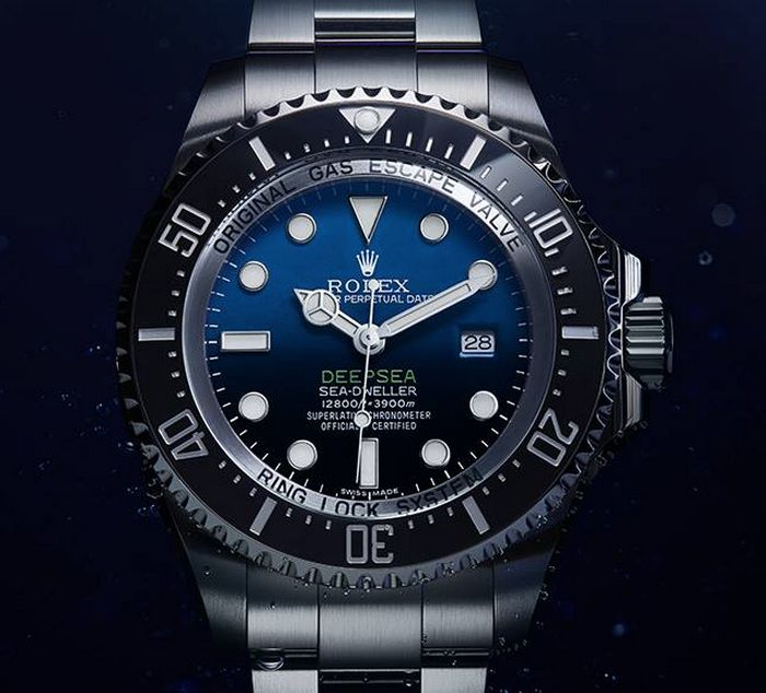 """ROLEX Deepsea Sea-Dweller D-Blue Dial Watch Is Tribute To James Cameron Deepsea Challenge 3D Movie - hot off the presses on aBlogtoWathc.com """"Rolex doesn't normally release watches outside of its normal Baselworld schedule, but today they have made their very first exception to that role by releasing the new Rolex Deepsea Sea-Dweller with D-Blue and black gradient dial and a vibrant green text..."""""""
