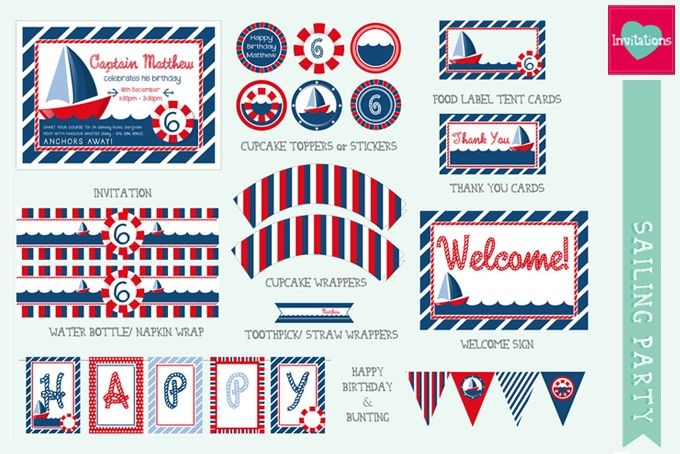 Sailing Party Printable Set by Leo Loves Invitations on hellopretty.co.za