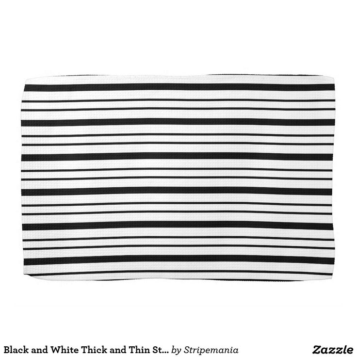 Black and White Thick and Thin Stripes Hand Towels