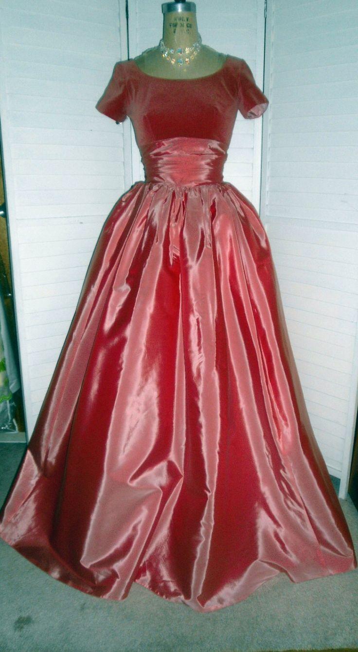 Vintage Prom Dress or Bridesmaids Gown 34 Bust  Dusty Rose Velvet Bodice Cummerbund Waist & Super Full Skirt w Tiered Back Skirt  Detail by badgirlvintage on Etsy https://www.etsy.com/listing/185432221/vintage-prom-dress-or-bridesmaids-gown