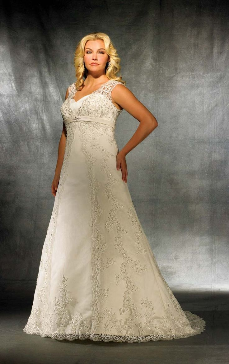 Affordable a line court train v neck sleeveless lace ivory for Courthouse wedding dress plus size