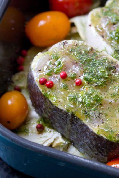 heilbot met aardappelen en venkel uit de oven