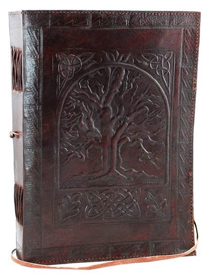 A beautiful journal that conveys a sense of age and mysticism, the large Tree of Life leather blank book is a beautiful journal whose cover features the hand tooled design of the Tree of Life. Contain