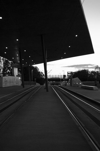 a concrete tramstop next to the footbal #stadium in #wroclaw
