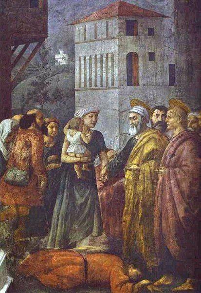 Masaccio 1401 – 1428 Death of Ananias fresco — 1425 Brancacci Chapel, Santa Maria del Carmine, Florence