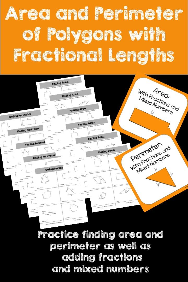 Looking for an activity that combines Perimeter, Area and Fractions?   This activity is full of computation practice. The students combine the skills of finding the perimeter of parallelograms, rectangles, squares and triangles as well as the skill of adding fractions and mixed numbers. The students combine the skills of finding the area of parallelograms, rectangles, and squares as well as the skill of multiplying fractions and mixed numbers. The Pack includes 11 different worksheets pages