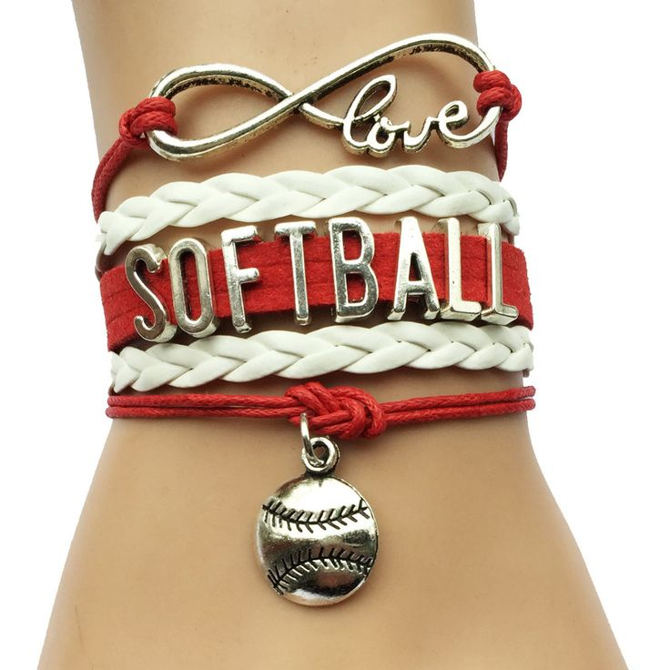 Бесконечность Любви Софтбол Браслет-Бейсбол Спорт Шарм Бархатные Мель Кожаная Оплетка Браслет