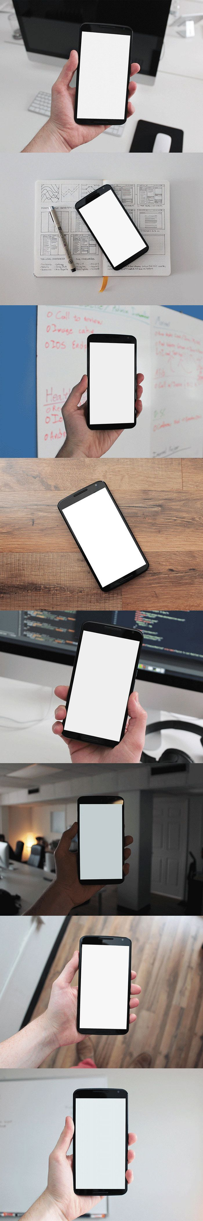 Free 8 Nexus 6 PSD Mockups by Gabe Will | #free #psd #mockups