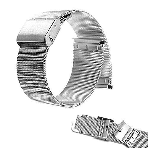 Pebble Time Round 20mm Watch Band , EXMART Milanese Stainless Steel Watch Band Strap Bracelet for Pebble Time Round 20mm (Silver)