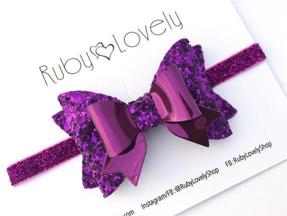 Purple Glitter Bow Purple Headband Purple Clips Purple