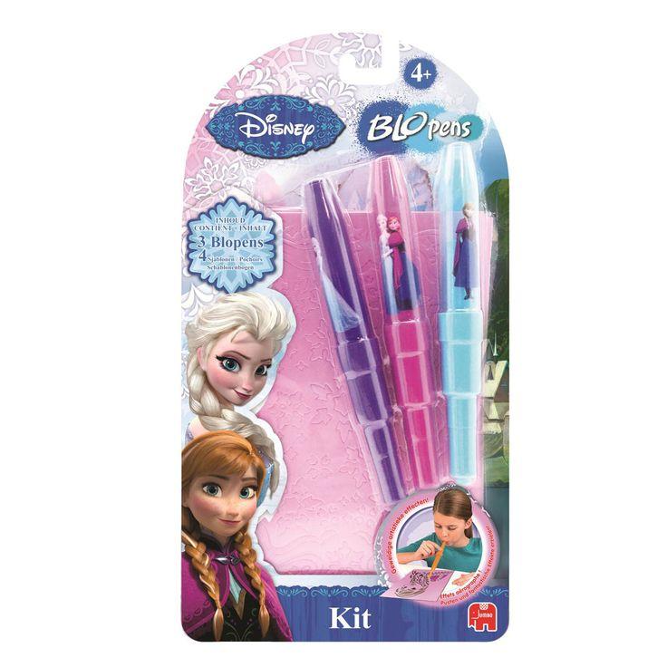 Blaas de mooiste Disney Frozen kunstwerken met deze speciale blopens. Door de sjablonen die je bij de set krijgt kan je al je favoriete personages van Disney Frozen blazen. In de set zitten 3 kleuren blopens en 4 sjablonen. Afmeting:verpakking: 29 x 15 cm - Disney Frozen BloPens Blister