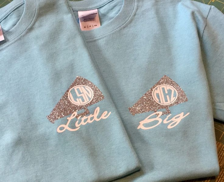Monogrammed cheer little big sister shirts