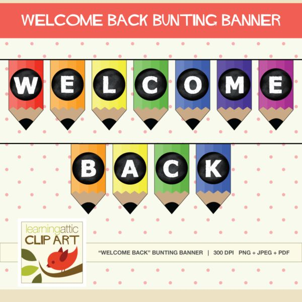 Welcome Back Banner Bunting - Put the finishing touches on your #classroom #decor with this pencil inspired welcome back bunting banner.