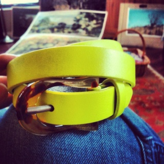 Deena & Ozzy Neon Yellow Belt - $24 from Urban Outfitters. Love the imitation-tortoiseshell buckle.