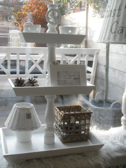 whitewashed wooden trays (or pic frames) & candle sticks glued together