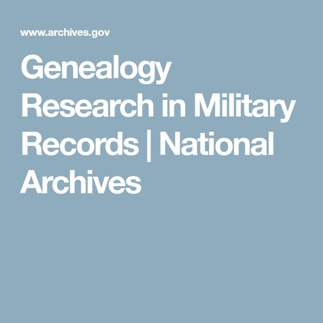 Genealogy Research in Military Records | National Archives
