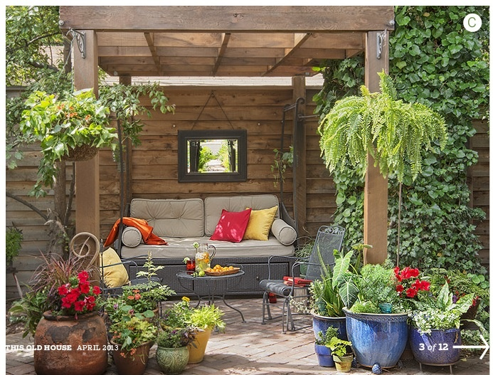 Patio seating area potted plants mirror patio for Backyard plant design ideas