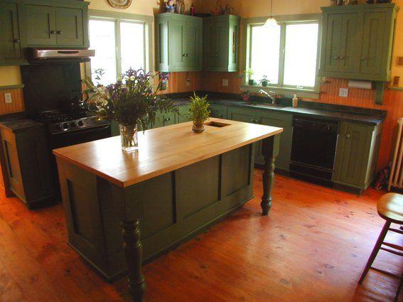 Green Farmhouse Kitchen  Prim Thyme Home  Pinterest