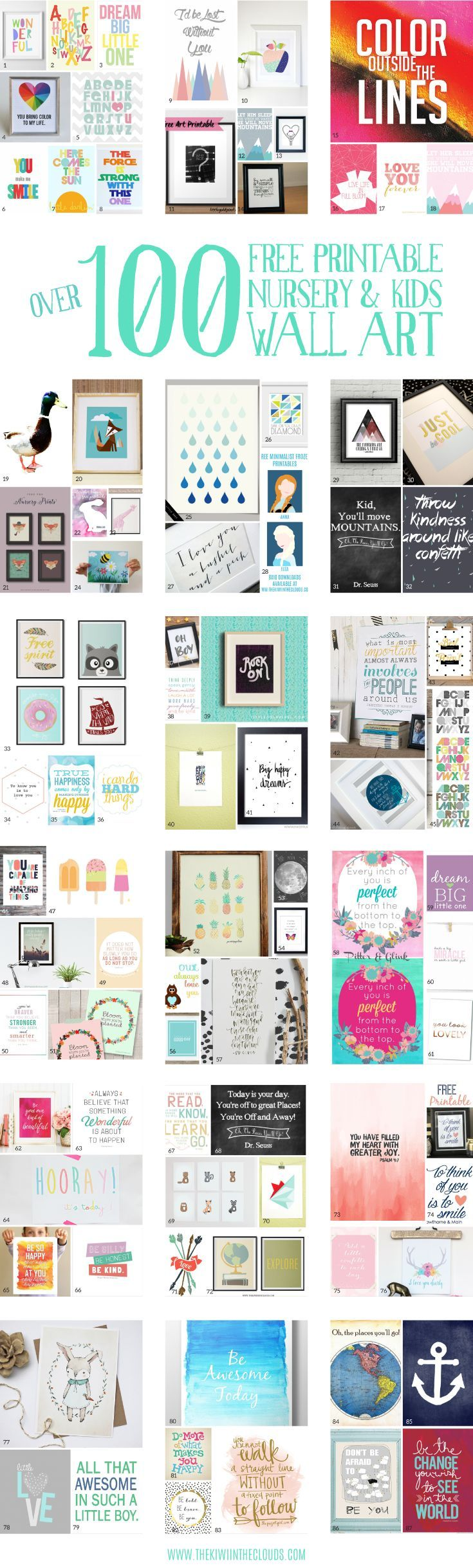 A gigantic guide to the best nursery and kids wall art printables. Pin for later to check them all out! Free Printables #free