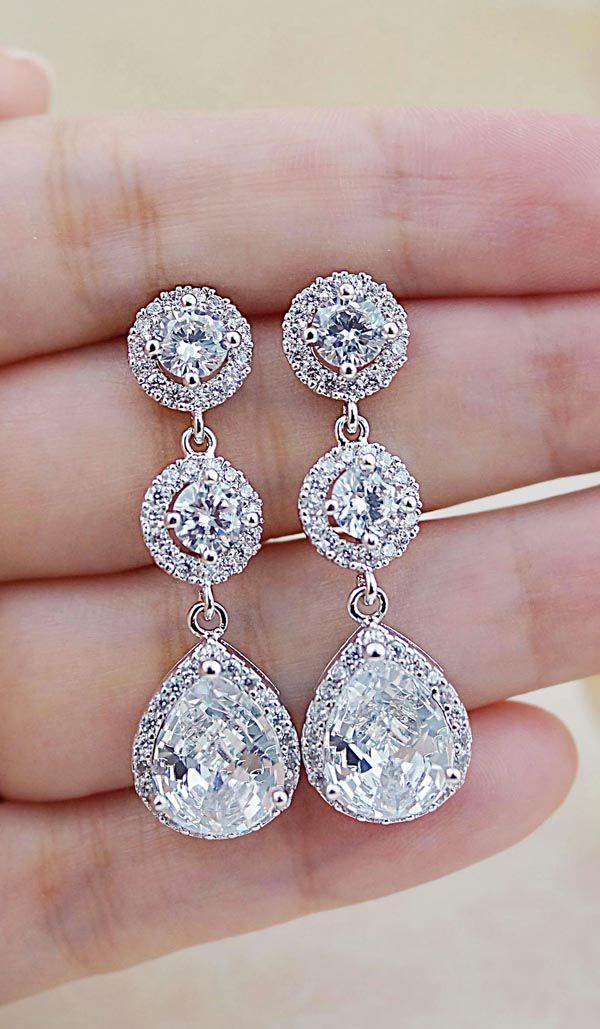 Halo Style Luxury Cubic Zirconia Bridal Earrings from EarringsNation Classic Weddings