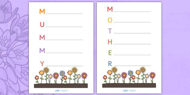 Mother's Day Acrostic Poem Sheets (Flowers) - acrostic poems, acrostic poem, mothers day acrostic poem, mothers day poem, mothers day writing frame, mother acrostic poem, mummy acrostic poem, acrostic, poem, poetry, literacy, writing activity, activi