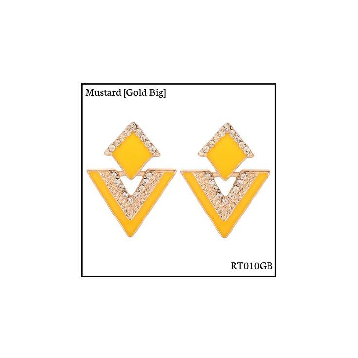 Ref: RT010GB Mustard [Gold Big] . Medidas: 3.5 cm x 2.8 cm . So Oh: 5.99 . Disponível para entrega imediata! Boas compras! #sooh_store #onlinestore #rhombus #trigonal #brincos #earrings #fashion